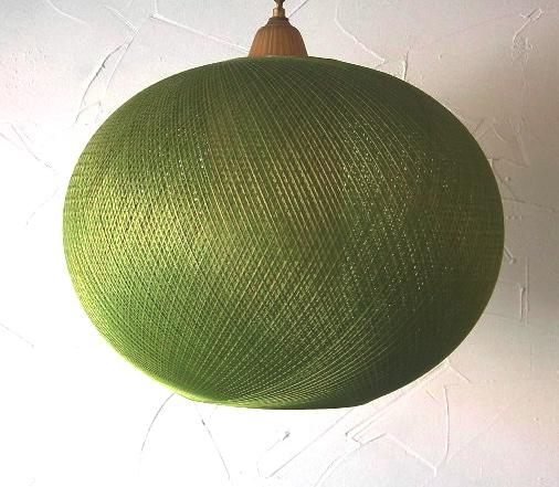 Green string globe swag lamp, SOLD