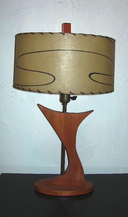 danish modern wood lamp w fiberglass shade nvision cincinnati handmade vintage clothing. Black Bedroom Furniture Sets. Home Design Ideas