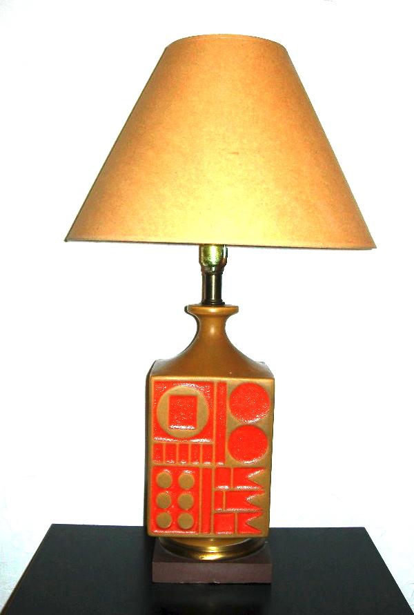 Orange & brown ceramic lamp