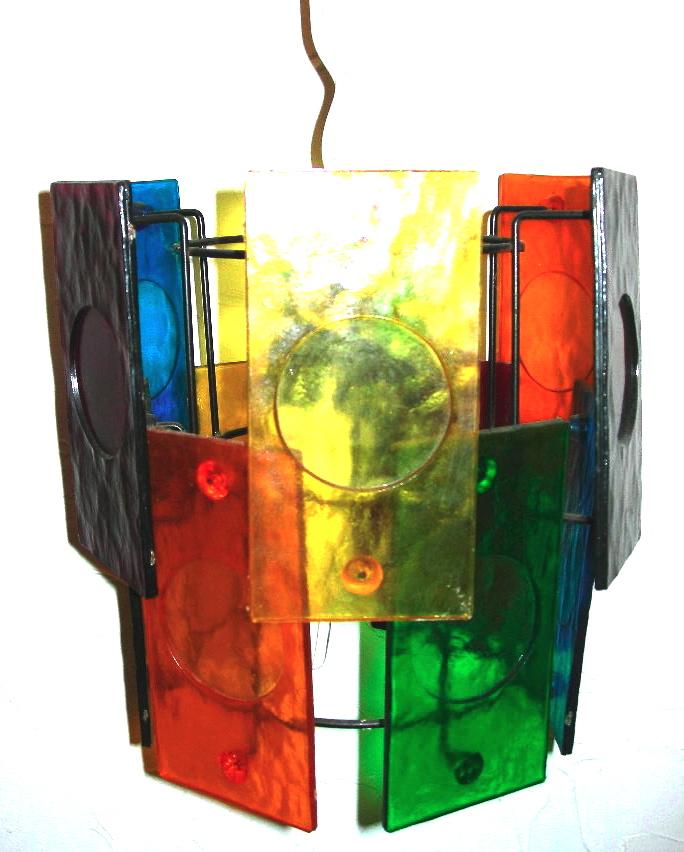 Rainbow glass swag lamp