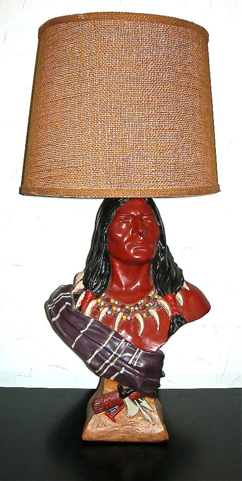 Vintage plaster American Indian bust lamp