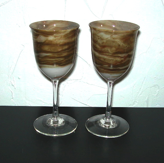 Pair Of Maslach Art Glass Wine Goblets Nvision