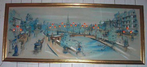 Vintage light-up painting of Paris street scene
