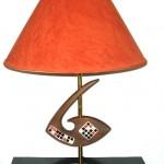Danish modern wood lamp w/mosaic inlay, SOLD