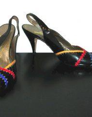 Garolini patent leather dye cut slingbacks