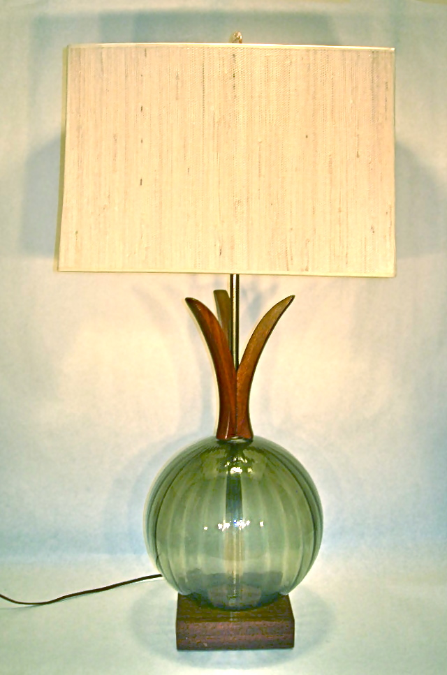 Vintage Danish style lamp with glass globe base, SOLD