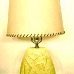 Vintage chartreuse ceramic boomerang motif lamp, SOLD