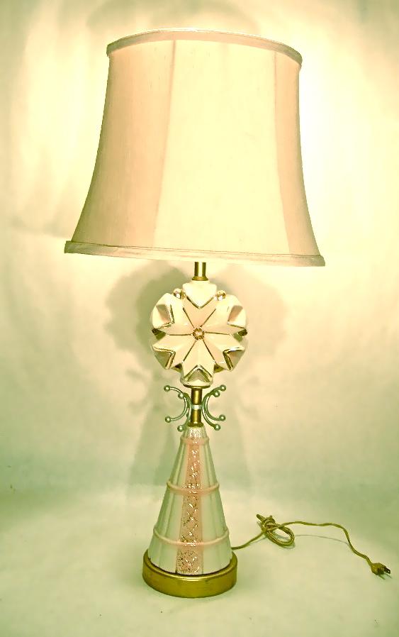 Vintage pink & white ceramic lamp, $60