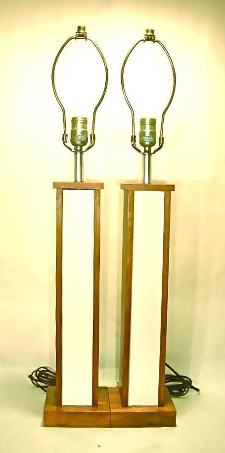 Pair of wood frame lamps w/white panels, SOLD