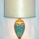 Vintage turquoise & gold ceramic lamp, $55