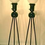 Pair vintage black metal lamps, SOLD