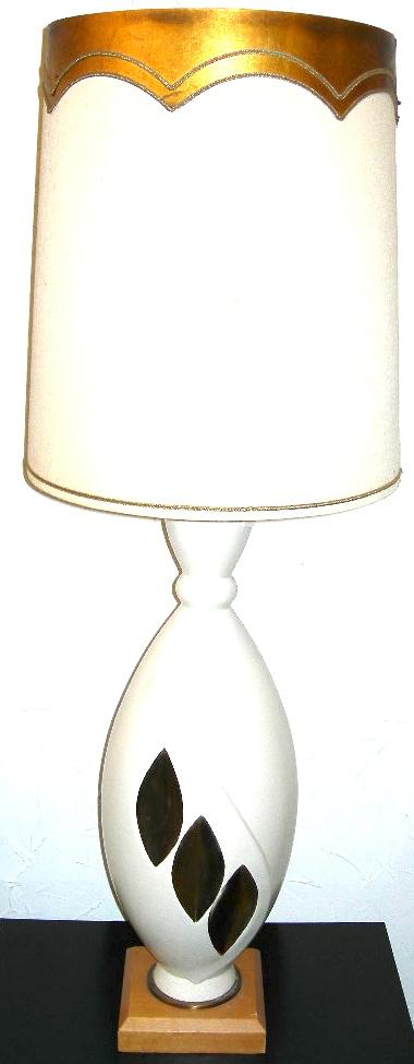 White and gold ceramic lamp w/matching shade, $65