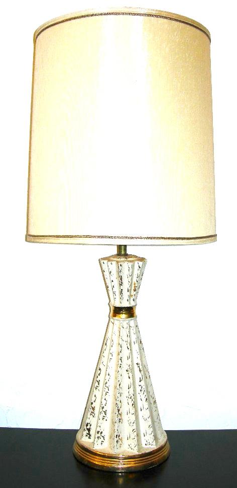 White & 24kt gold flecked ceramic lamp, $50