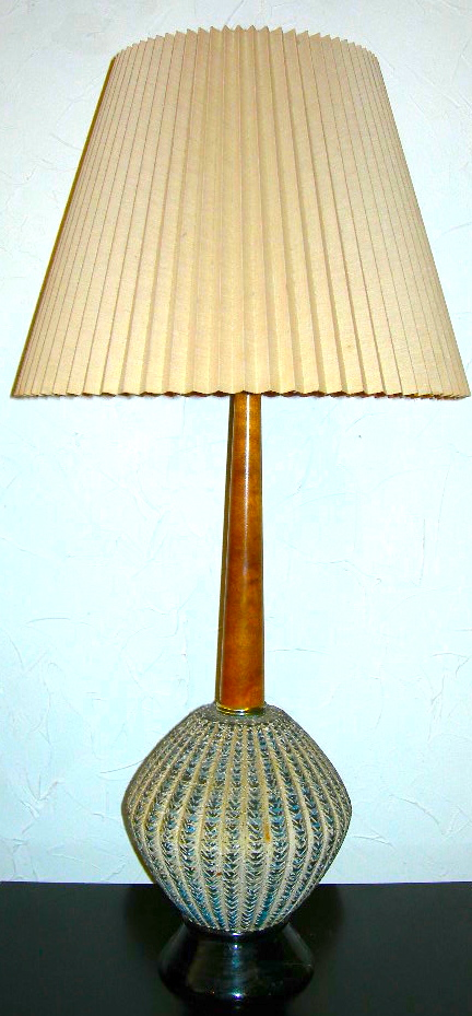 Blue/gray textured lamp, wood stem, SOLD