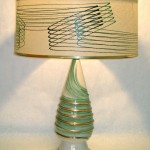 Vintage ceramic lamp with original matching fiberglass shade, SOLD