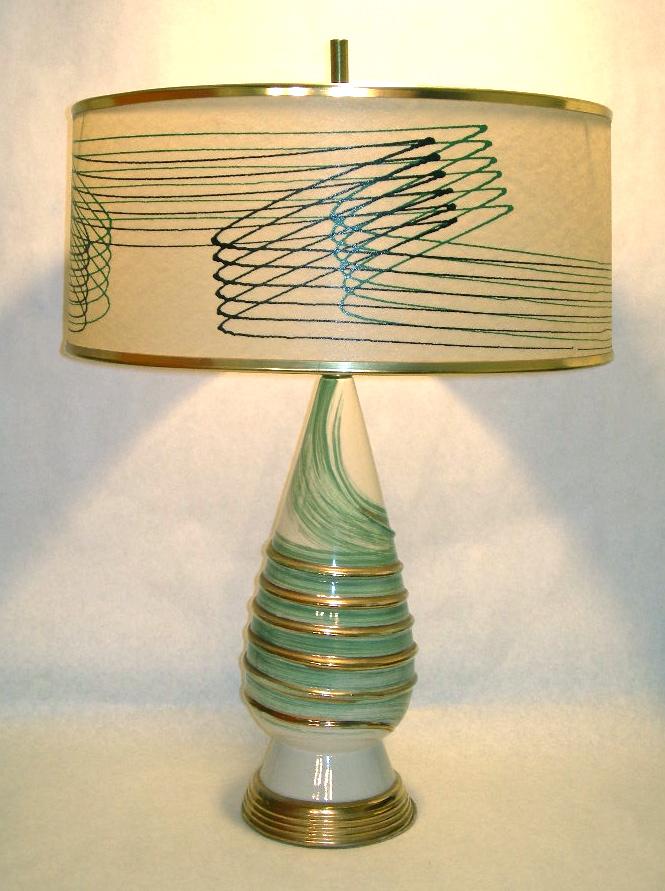 Vintage ceramic lamp with original matching fiberglass shade, SOLD