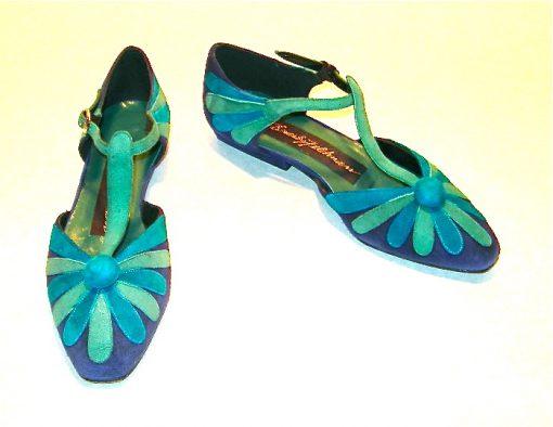 Beverly Feldman blue/teal suede flower T-strap flats