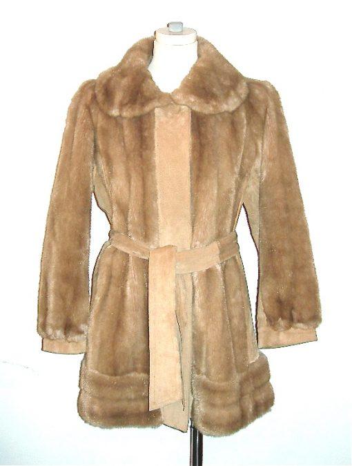 Lilli Ann coat suede & faux fur