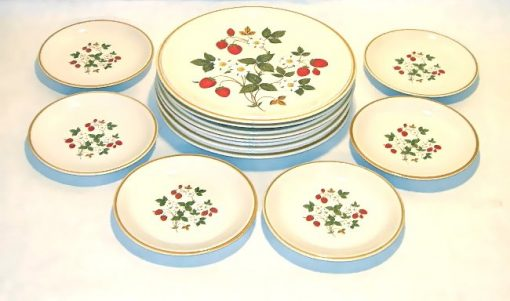 Vintage collectible Sheffield Strawberries & Cream dishware, set of 12