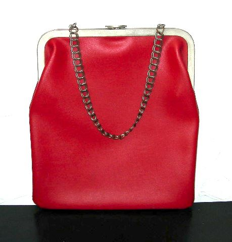 Vintage red leather flat purse