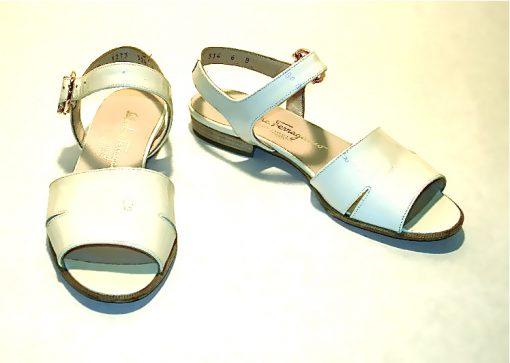 Ferragamo cream patent leather sandals with gold signature ornament buckle