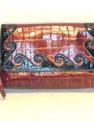 Sharif burgundy & black swirl purse