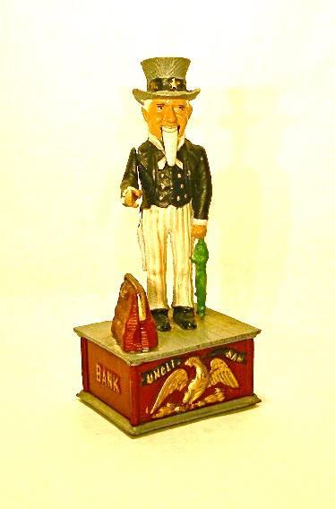 Vintage metal Uncle Sam piggy bank
