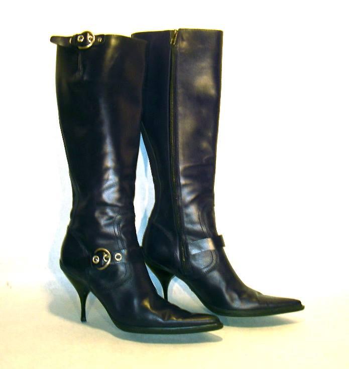 Miu Miu black leather knee-high boots