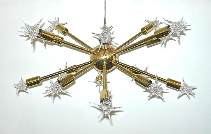 Vintage brass sputnik pendant lamp, 16 arms, SOLD