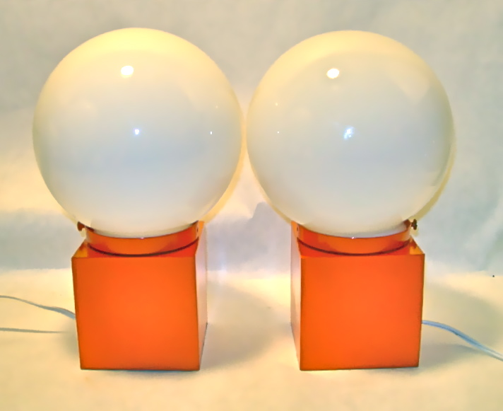 Pair of vintage orange metal cube lamps, SOLD