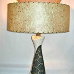 Vintage ceramic lamp with two-tier fiberglass shade, SOLD