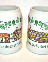 1985 Privatbrauerei Scherdel Hof earthenware beer mugs