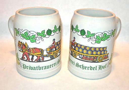 1985 Privatbrauerei Scherdel Hof earthenware beer mugs