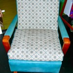 Vintage McCall's lounge chair, turquoise & print vinyl upholstery, SOLD