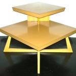 Vintage blonde corner table w/criss-cross base, $100