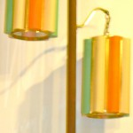 Vintage tension pole lamp, orange/turquoise/cream scalloped cylinder shades, SOLD