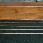 Vintage wood top/wrought iron frame coffee table, $125