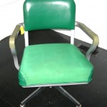 Vintage Steelcase desk chair, green vinyl & cloth upholstery, $75