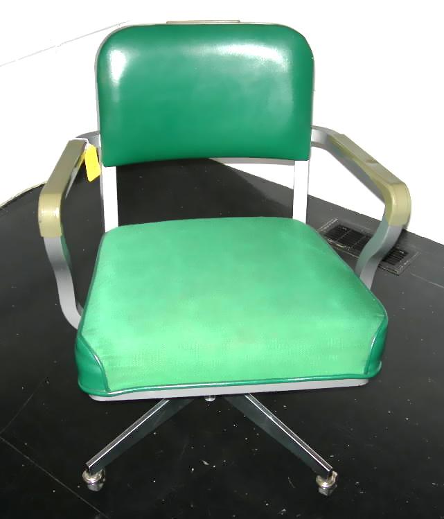 Vintage Steelcase Desk Chair Green Vinyl Cloth Upholstery