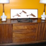 Vintage American of Martinsville Danish modern style sideboard with three full drawers and 2 cabinets enclosing shelving, $500