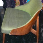 Vintage Danish modern style bentwood chair, green upholstery