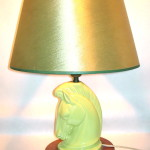 Vintage chartreuse ceramic horsehead lamp, $55