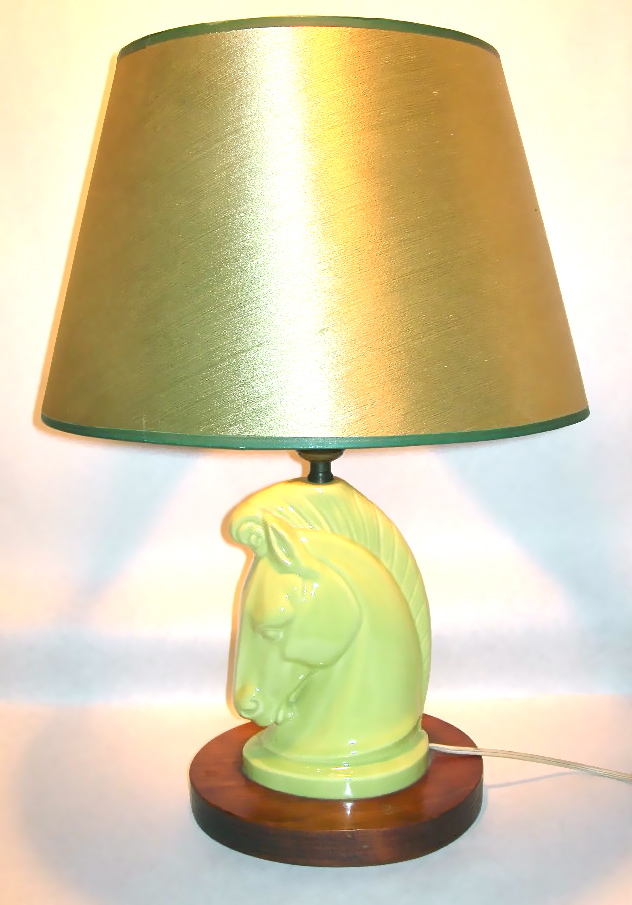 Vintage chartreuse ceramic horsehead lamp, $55