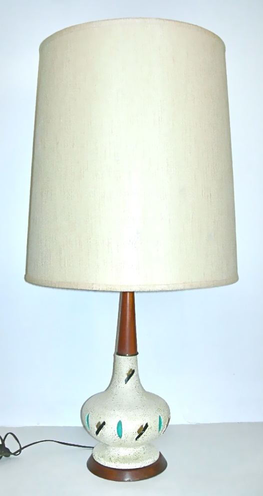 Vintage plaster lamp w/blue & black accents, wood stem, $50