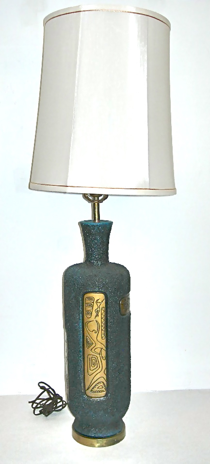 Vintage black & gold lamp with Matisse drawings, SOLD