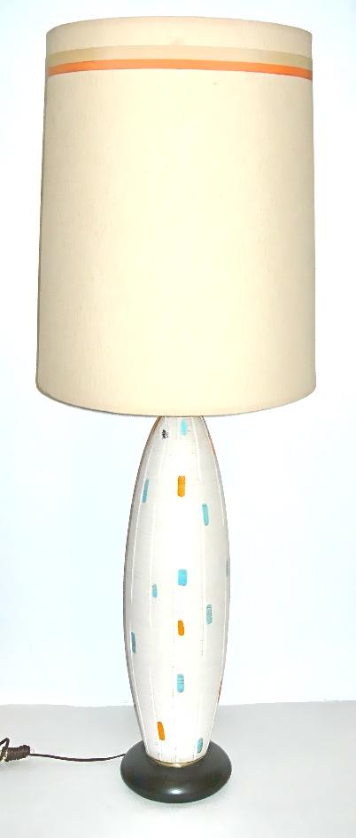Vintage plaster lamp w/orange & blue accents, SOLD