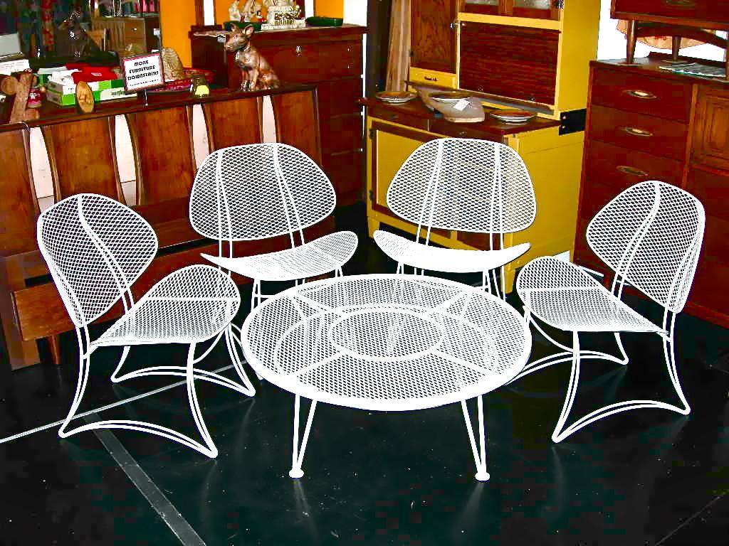 Vintage Homecrest Salterini Wrought Iron Clamshell 5 Piece