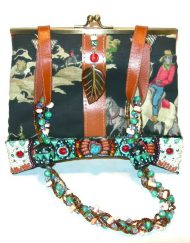 Mary Frances cowboy cloth purse with heavily beaded detail