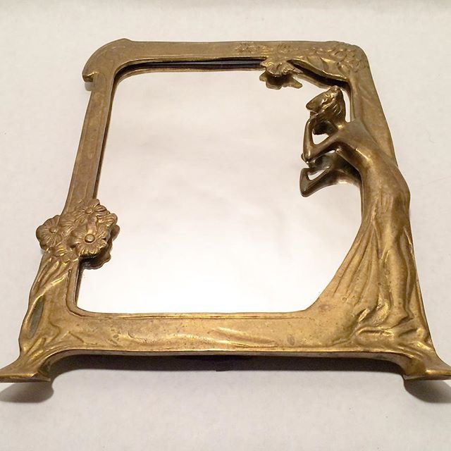 Vintage Art Nouveau Brass Framed Mirror With Table Top