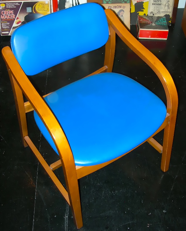 Vintage bentwood chair, blue vinyl upholstery, SOLD